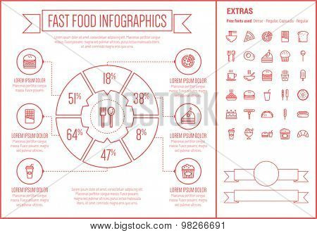 Fast food infographic template and elements. The template includes the following set of icons - honey dipper, frying pan, casserole, serving tray, hot meal, sunny side up egg,  bread and more