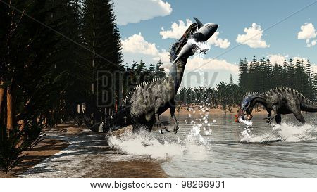 Suchomimus dinosaurs fishing fish and shark - 3D render