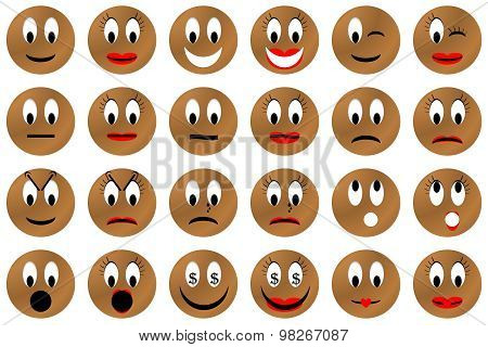 Brown emoticons set or collection