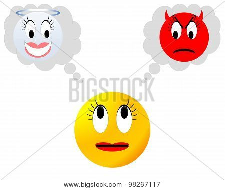 Neutral smiley hesitating between angel and devil