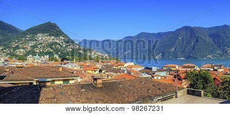 Lugano city panorama, Ticino, Switzerland