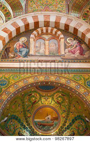 Interior In Catholic Basilica Notre Dame De La Garde.