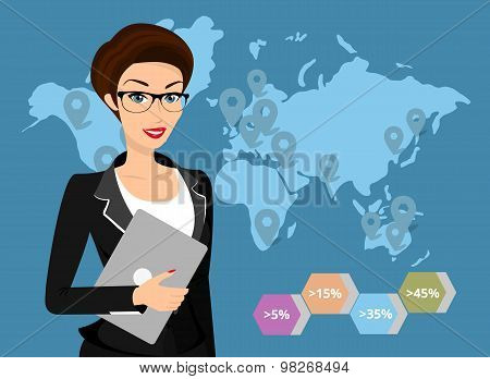 Business woman holds laptop in her hand