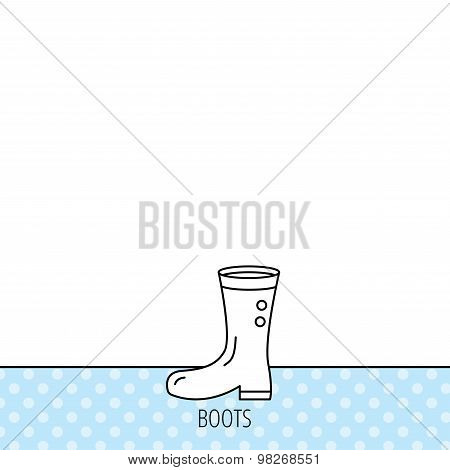 Boots icon. Garden rubber shoes sign.