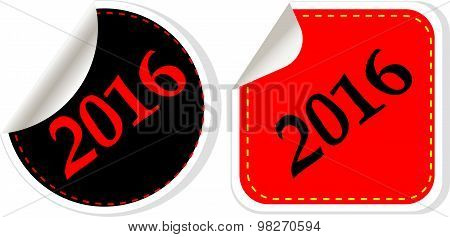 Happy New Year 2016 - Web Icon On A Round Button