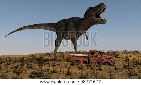 tarbosaurus attacking rusted vintage car