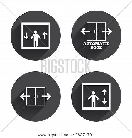 Automatic door icons. Elevator symbols.