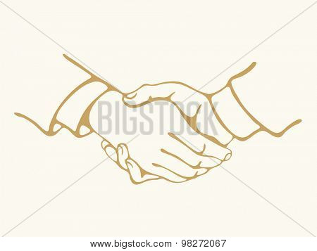 Realistic Handshake Sign. Concept for business and finance.