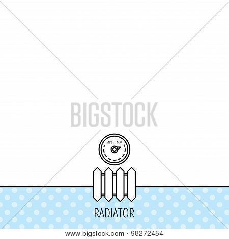 Radiator with regulator icon. Heater sign.