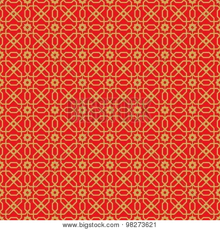 Golden seamless vintage Chinese window tracery polygon star flower pattern background.