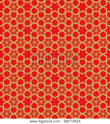 Golden seamless vintage Chinese window tracery star flower geometry pattern background.