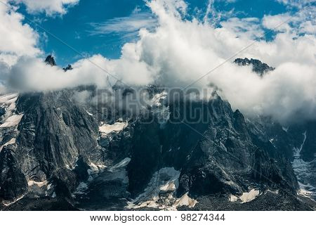 Clloudy Mont Blanc Massif