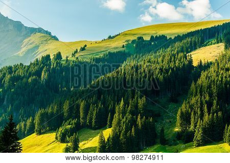 Scenic Swiss Alps Sunset