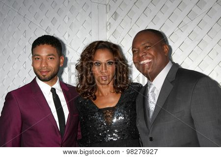 LOS ANGELES - AUG 8:  Jussie Smollett, Holly Robinson Peete, Rodney Peete at the 17th Annual HollyRod Designcare Gala at the The Lot on August 8, 2015 in West Hollywood, CA