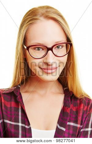 Smiling young blonde woman with nerd glasses