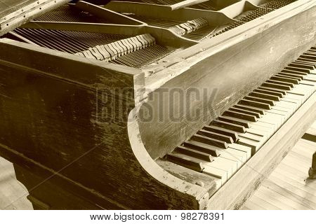 Wooden Piano In Sepia