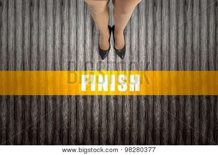 Top view of businesswoman legs in elegant shoes