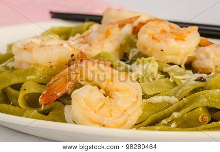 Shrimp Pasta With Chopsticks