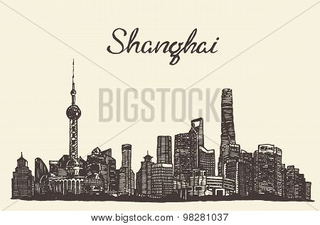 Shanghai skyline vector engraved drawn sketch