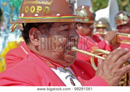 Musician In Bolivian Independence Day Parade In Brazil