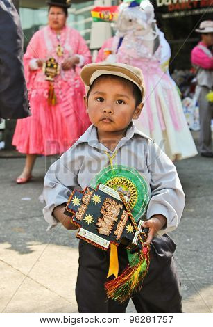 Boy In Parade Of Bolivian Independence Day Parade In Brazil