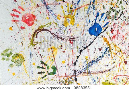 Multiple Colorful  Hand Prints
