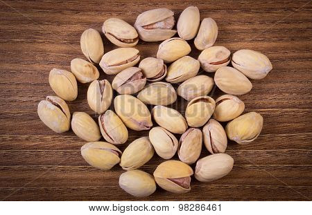 Vintage Photo Of Pistachio Nuts On Wooden Table, Healthy Eating
