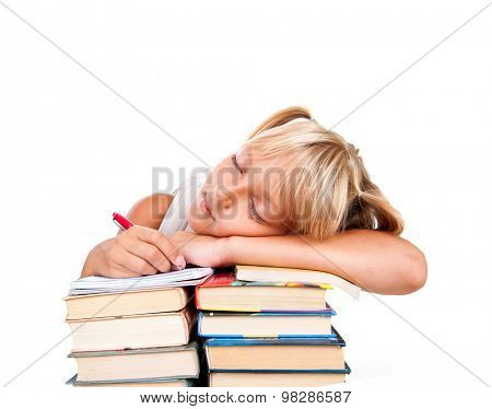 Back to school. Tired Schoolgirl sleeping on a stack of books isolated on a white background. Education concept, knowledge. School girl, pupil