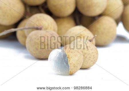 Longan Fruit On A White Table Background.