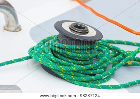 Yachting, Green Rope On Sailboat, Details Of Yacht