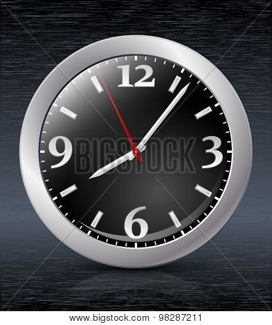Analog Clock Icon On Dark Metal Backgroung. Vector