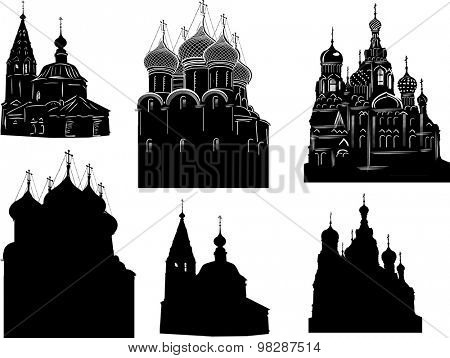 illustration with orthodox church sketches on white background