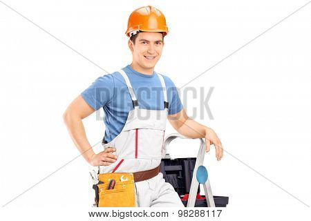 Male electrician standing on a ladder isolated on white background