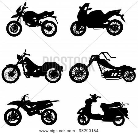 Silhouette Motorcycles And Bicycle Bike Icon Collection Set In White Isolated Background, Create By
