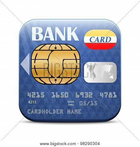 Credit Card App Icon On White Background. Vector Illustration
