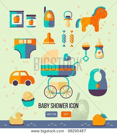 Vector Illustration Baby Shower Icon For Invitation Template, Web Design. Flat Style.