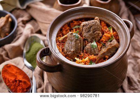 Delicious Indian Dum Biryani Lamb