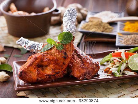 Indian Tandoori Chicken Garnished