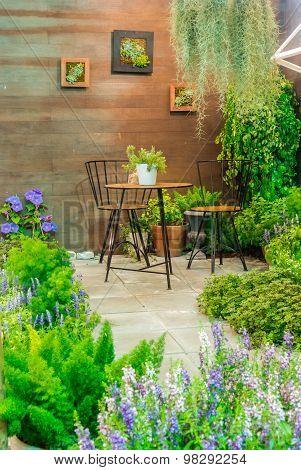 Relaxing area in garden.