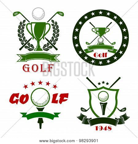 Golf game symbols with sport items