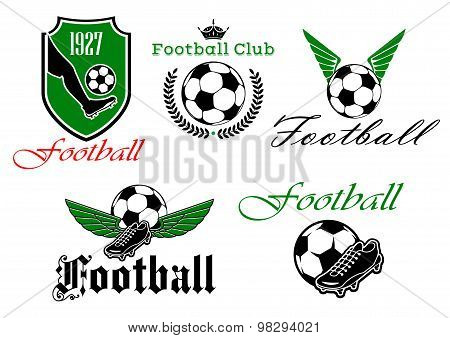 Soccer and football heraldic icons