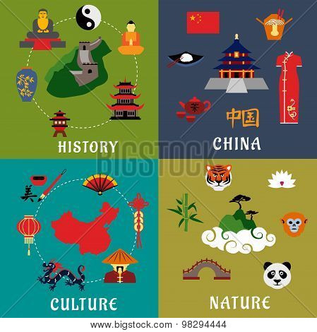 China history, culture and nature icons