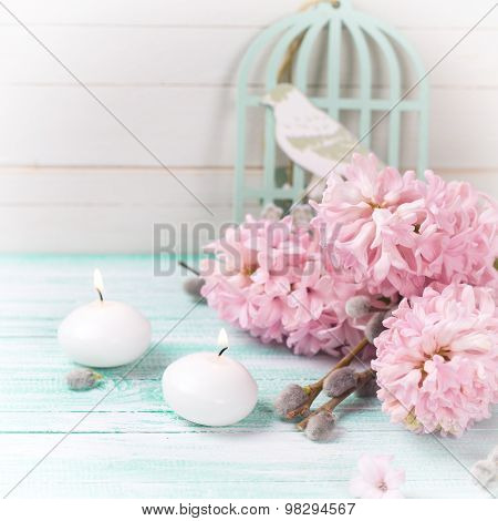 Background  With Hyacinths,  Willow Flowers And Candles