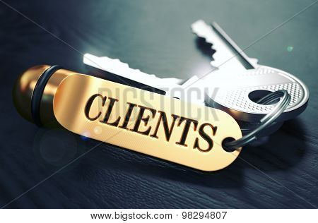 Keys to Clients. Concept on Golden Keychain.