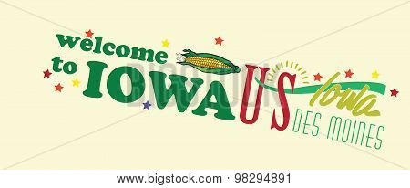 Welcome To Iowa Abstract Banner