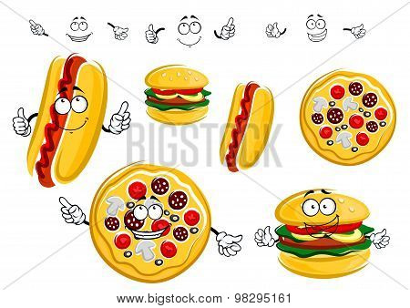 Cartoon isolated fast food characters