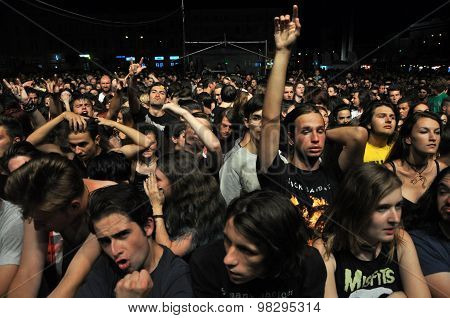 Headbanging Crowd At A Rock Concert