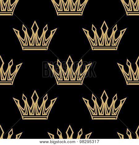 Golden royal crowns seamless pattern