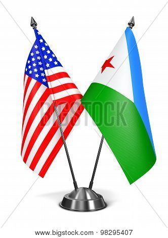 USA and Djibouti - Miniature Flags.