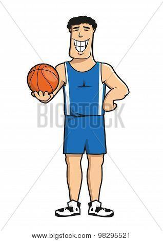 Cartoon basketball player with ball
